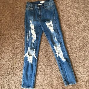 F21 Distressed torn mid rise jeans